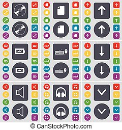 Disk, File, Arrow up, Charging, Keyboard, Arrow down, Sound, Headphones icon symbol. A large set of flat, colored buttons for your design. Vector