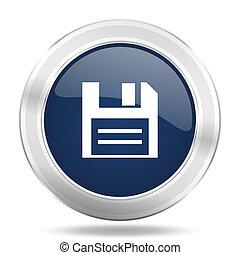 disk icon, dark blue round metallic internet button, web and mobile app illustration
