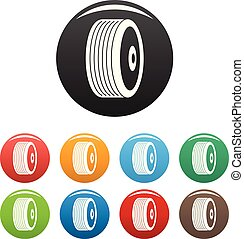 Disk icons set color vector