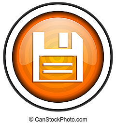 disk orange glossy icon isolated on white background