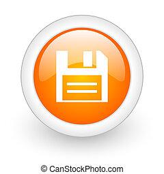 disk orange glossy web icon on white background