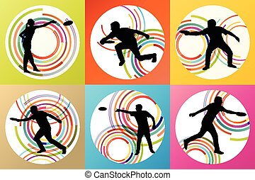 Disk thrower and catcher active people sport background ...