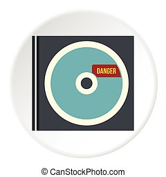 Disk with virus icon, flat style