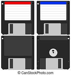 Floppy disk set on white background. Vector illustration.