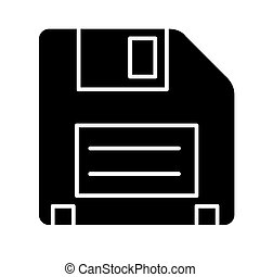 diskette icon, vector illustration, black sign on isolated background