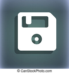 diskette, ikone, symbol, auf, der, blau-grün, abstrakt, hintergrund, mit, schatten, und, raum, für, dein, text.