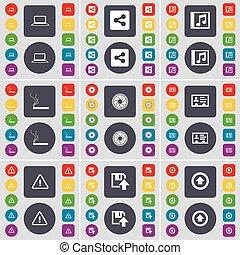 diskette, set, gekleurde, plat, op, groot, symbool., sigaret, draagbare computer, knopen, aandeel, vector, muziek, lens, richtingwijzer, venster, waarschuwend, pictogram, contact, jouw, design.