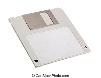 Diskette - One gray diskette 3.5 inch isolated on white...