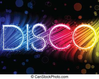 disko, abstrakt, bunte, wellen, auf, schwarzer hintergrund