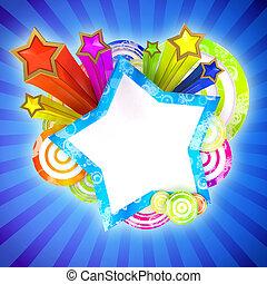 disko, baner, med, vacker, färgad, stjärnor och galon