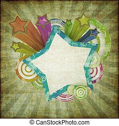 disko, grunge, baner, med, vacker, färgad, stjärnor och galon