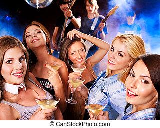 disko, kvinna, club., natt