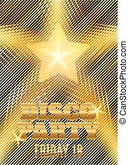 disko, parti, affisch, mall, med, lysande, guld, star., vektor, illustration