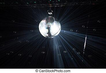 disko, spiegelkugel, hängender , an, a, retro, party