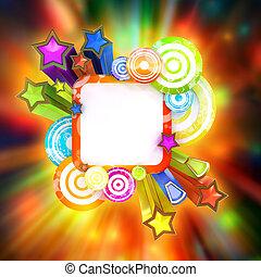 disko, stil, affisch, med, vacker, färgad, stjärnor och galon
