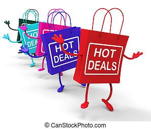diskonterar, varm, handling väska, handlar, att köpslå, ...