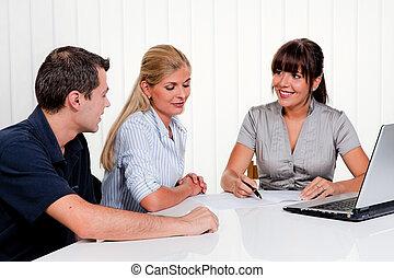 diskussion, an, a, beratungsgespräch