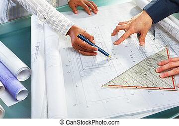 diskussion, design, över, arkitektur