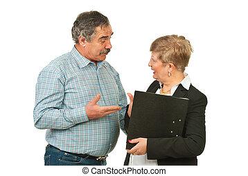 diskussion, folk, senior, affär, ha