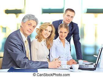 diskuter, forretningsmænd, gruppe