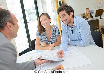 diskutera, den, hus, plan