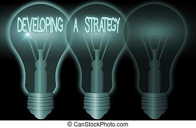 diskutierenden geschäft, entwickeln, text, vision, business., begriff, ideen, marketing, neu , schreibende, planung, wort, ziel, strategy.