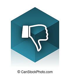 dislike blue cube icon, modern design web element