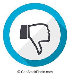 Dislike blue flat design web icon