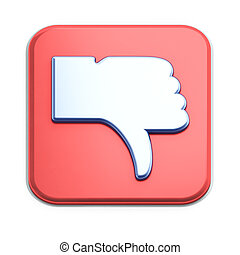 """dislike"", botón, 3d, render, blanco"