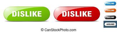 dislike button. key. sign. push button set