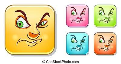 Dislike Evil Emoji face. Emoticons collection.