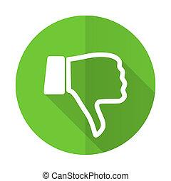 dislike green flat icon thumb down sign