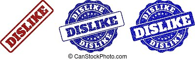 DISLIKE grunge stamp seals in red and blue colors. Vector DISLIKE imprints with grainy style. Graphic elements are rounded rectangles, rosettes, circles and text labels.