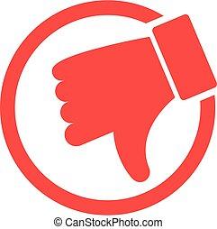 Dislike hand thumb down illustration