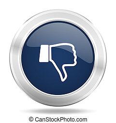 dislike icon, dark blue round metallic internet button, web...