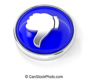 Dislike icon on glossy blue round button. 3d image renderer