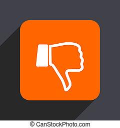 Dislike orange flat design web icon isolated on gray background