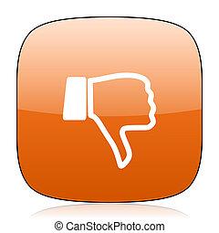 dislike orange square web design glossy icon