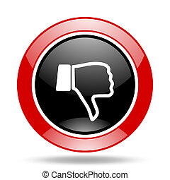 dislike red and black web glossy round icon