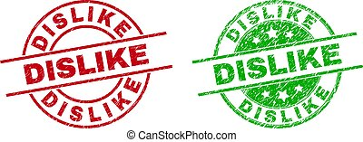 Round DISLIKE seal stamps. Flat vector grunge seal stamps with DISLIKE text inside circle and lines, using red and green colors. Stamp imprints with grunge surface.