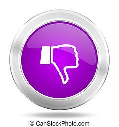 dislike round glossy pink silver metallic icon, modern design web element