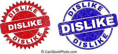 Rounded and rosette DISLIKE seal stamps. Flat vector distress seal stamps with DISLIKE slogan inside round and sharp rosette form, in red and blue colors. Imprints with distress style,