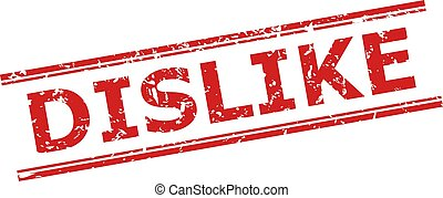 Red DISLIKE watermark on a white background. Flat vector scratched watermark with DISLIKE message between double parallel lines. Watermark with unclean surface.
