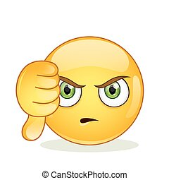 Dislike sign smiley emoticon. Vector illustration isolated on white background.