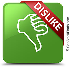 Dislike soft green square button red ribbon in corner
