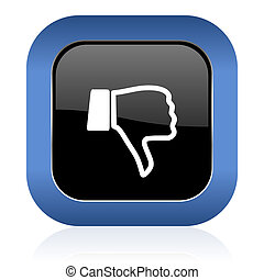 dislike square glossy icon thumb down sign