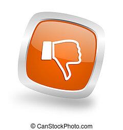 dislike square orange glossy chrome silver metallic web icon