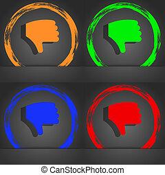 Dislike, Thumb down, Hand finger down icon symbol. Fashionable modern style. In the orange, green, blue, green design.