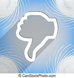 Dislike, Thumb down icon symbol Flat modern web design with long shadow and space for your text. Vector