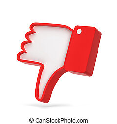 Dislike thumb down social network symbol. 3d illustration...